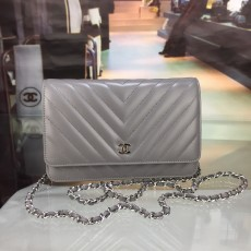 Chanelss Lambskin leather Woc Shoulder Bag 33814 Gray & Silver