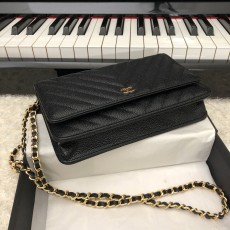 Chanelss Caviar leather Woc Shoulder Bag 33814 Black & Gold