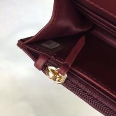 Chanelss Lambskin leather Woc Shoulder Bag 33814 Maroon & Silver