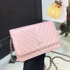 Chanelss Lambskin leather Woc Shoulder Bag 33814 Pink & Silver
