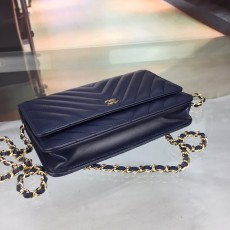 Chanelss Lambskin leather Woc Shoulder Bag 33814 Navy Blue & Gold