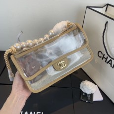 New Chanelss Pearl Quicksand PVC Clear Flap Shoulder Bag AS0520 Beige
