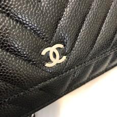 Chanelss Caviar leather Woc Shoulder Bag 33814 Black & Silver