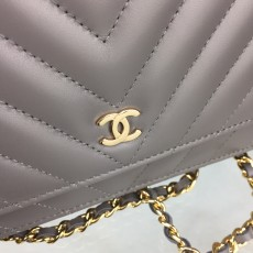 Chanelss Lambskin leather Woc Shoulder Bag 33814 Gray & Gold