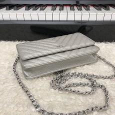 Chanelss Caviar leather Woc Shoulder Bag 33814 Silver & Silver