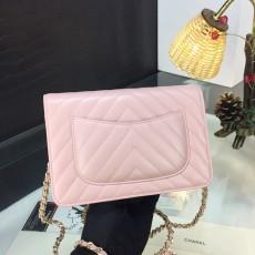 Chanelss Lambskin leather Woc Shoulder Bag 33814 Pink & Gold
