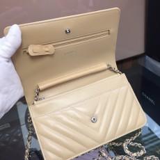 Chanelss Lambskin leather Woc Shoulder Bag 33814 Beige & Silver
