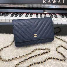 Chanelss Caviar leather Woc Shoulder Bag 33814 Blue & Gold