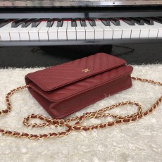 Chanelss Caviar leather Woc Shoulder Bag 33814 Red & Gold