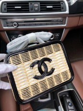 Chanelss Rattan Medium Vanity Case Bags 93342 Black