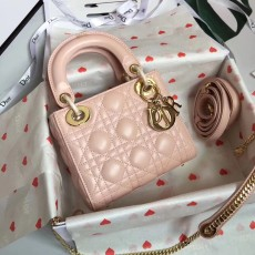 Lady Diorss Lambskin Leather Mini Handbag Shoulder Bag Aaa+ Quality Pink