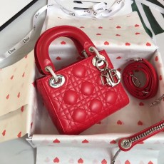 Lady Diorss Lambskin Leather Mini Handbag Shoulder Bag Aaa+ Quality Red