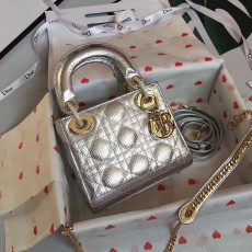 Lady Diorss Lambskin Leather Mini Handbag Shoulder Bag Aaa+ Quality Silver