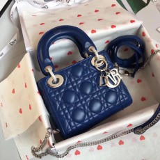 Lady Diorss Lambskin Leather Mini Handbag Shoulder Bag Aaa+ Quality Blue