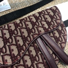 Diorss Oblique Saddle Belt Bag Aaa+ Quality Maroon