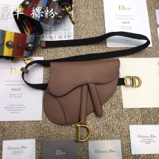 Diorss Saddle Calfskin Belt Bag Aaa+ Quality Nude