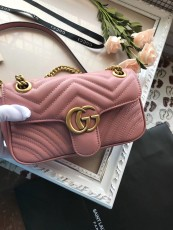 Gucciss GG Small Marmont Leather Shoulder Bag 446744 Pink