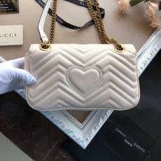 Gucciss GG Medium Marmont Leather Shoulder Bag 443497 White