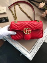 Gucciss GG Small Marmont Leather Shoulder Bag 446744 Red