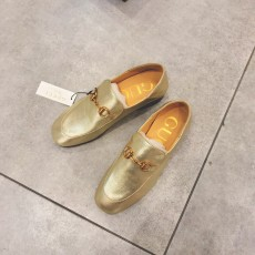 Gucciss Cow Leather Shoes Gold 34-40