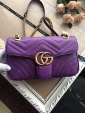 Gucciss GG Medium Marmont Leather Shoulder Bag 443497 Purple