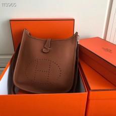 Hermesss Calfskin Evelyne Large Shoulder Bag Brown