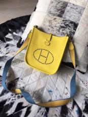 Hermesss Calfskin Evelyne Mini Shoulder Bag Yellow