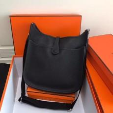 Hermesss Calfskin Evelyne Large Shoulder Bag Black