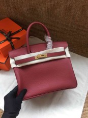 Hermesss Birkin 25 30 35 Calfskin Handbag Shoulder Bag Maroon