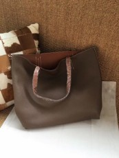 Hermesss Calfskin Leather Shopping Bags Tote Bag