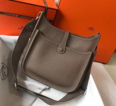 Hermesss Calfskin Evelyne Large Shoulder Bag Gray