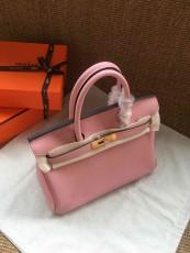 Hermesss Birkin 25 30 35 Calfskin Handbag Shoulder Bag Pink