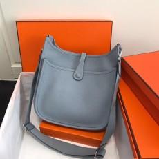 Hermesss Calfskin Evelyne Large Shoulder Bag light blue