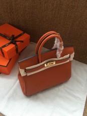 Hermesss Birkin 25 30 35 Calfskin Handbag Shoulder Bag Orange