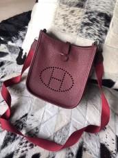 Hermesss Calfskin Evelyne Mini Shoulder Bag Maroon
