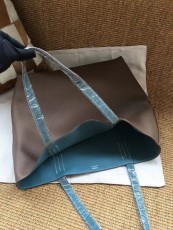 Hermesss Calfskin Leather Shopping Bags Tote Bag Blue
