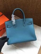 Hermesss Birkin 25 30 35 Calfskin Handbag Shoulder Bag Blue