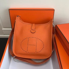 Hermesss Calfskin Evelyne Large Shoulder Bag Orange