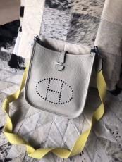 Hermesss Calfskin Evelyne Mini Shoulder Bag Light Gray
