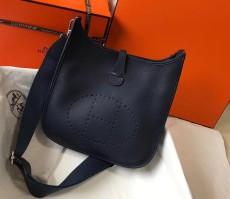 Hermesss Calfskin Evelyne Large Shoulder Bag Dark blue