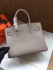 Hermesss Birkin 25 30 35 Calfskin Handbag Shoulder Bag Gray