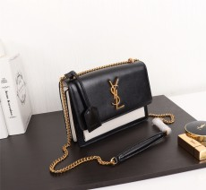 YSL Sunset Handbag Shoulder Bag 442906 Black & White
