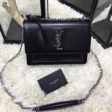 YSL Sunset Handbag Shoulder Bag 442906 Black