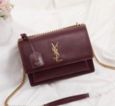 YSL Sunset Handbag Shoulder Bag 442906 Maroon