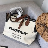 Burberryss Calfskin Canvas Tote Shopping Bag002