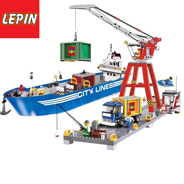 LEPIN 02034 695PCS City Series Cargo Ferry Terminal Figures Building Block Compatible Bricks Education Toys For Children Model Gifts