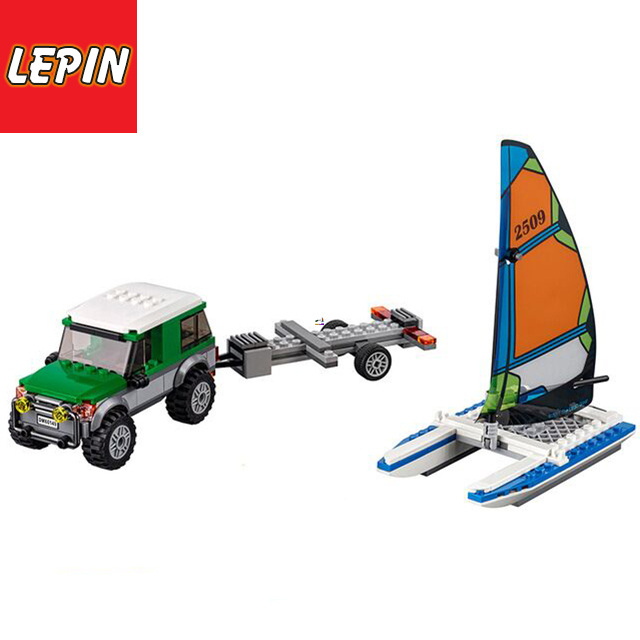 LEPIN™TOY|Official Store 02027 BELA City Vehicles Building Blocks Trailer Sail Boat Model Bricks Toys