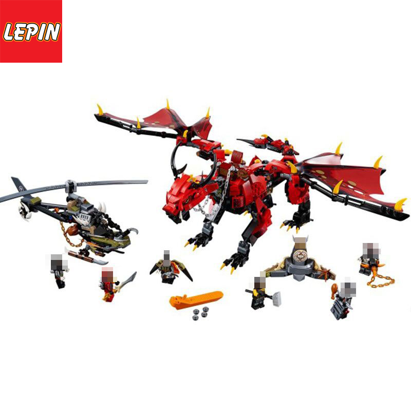 LEPIN 06081 Ninja Series 988PCS Flames Shadow Dragon Children Boys Assembling Building Blocks Toys