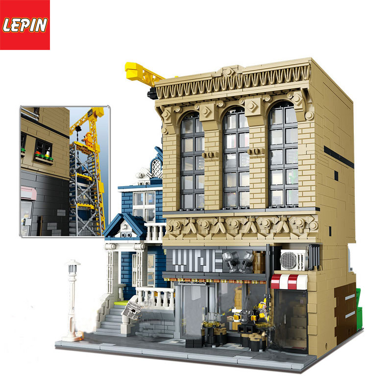 LEPIN 15035 Architectural Series The Bars and Financial Children Educational Building Blocks Bricks Toys