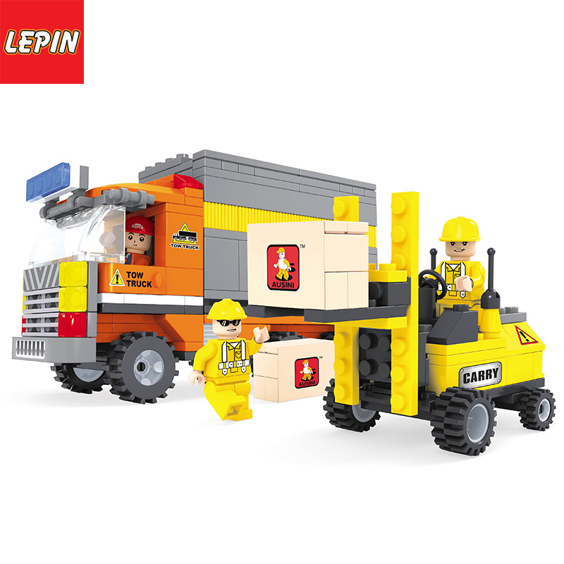 Lepin 1101W Technology Series Small forklift Bulldozer Mixer Toy For Children